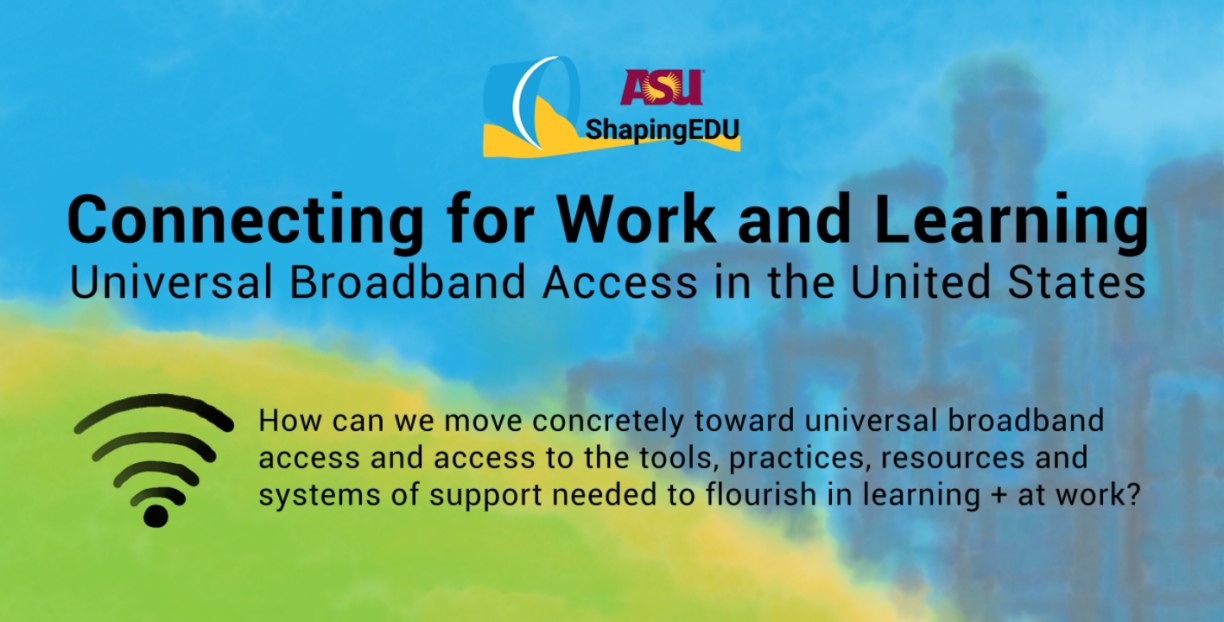 """Graphic image for ShapingEDU """"Connecting for Work and Learning"""" broadband-access initiative"""